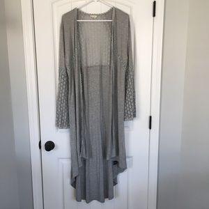 POL Gray Hi Lo Long Sleeve Cardigan Size Large